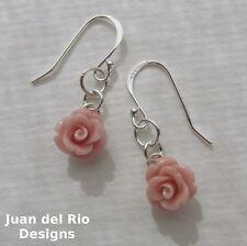 *Petit Chic* geschnitzte Koralle Rose Ohrringe Blume Blüte Rös-chen 925 Silber
