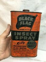 Vintage BLACK FLAG Bug Insecticide General Store Tin Container one Quart Empty