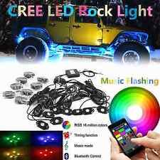 8X Pod RGB LED Rock Lights Bluetooth Offroad 4x4WD Music Flashing Multi Color