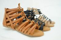 New Women Shoes Sandals Strappy Buckle Open Toe Wedge Ankle Strap Tan Black HOT