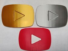 YouTube Gold, Bronze, Red Play Button 3D Printed - Size of Real Silver Button