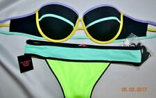 Victorias Secret SEXY NEON THE FLIRT BANDEAU Swim Push Up Bikini 34C S NWT