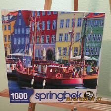 Springbok 1000 piece Jigsaw Puzzle Titled: Copenhagen Waterfront- Sailboats