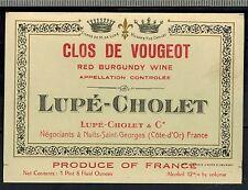 Etiquette de Vin - Bourgogne - Clos De Vougeot - Lupé-Cholet - New  - Réf.n°251