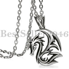 Punk Gothic Polished Stainless Steel Dragon Pendant Chain Necklace for Men 22""