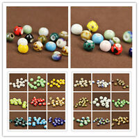 10Pcs Round Ceramic Porcelain Loose Spacer Beads Big Hole Charms 8mm Findings