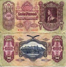 Banknote 1930 Kingdom Hungary Hungarian 100 Szaz Pengo Matyas Kiraly