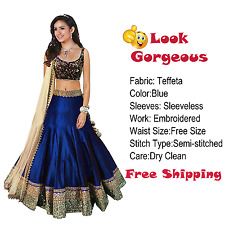 Lehenga Semi Stitched Choli Designer Indian Bollywood Silk Blue Wedding