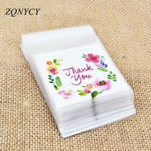 50/100Pcs Plastic Bags Thank you Cookie&Candy Bag Self-Adhesive For Wedding