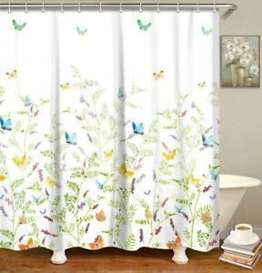 Nice Blue Yellow Butterfly Floral French Country Fabric Shower Curtain
