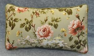 NEW Corded Pillow made w Ralph Lauren Yorkshire Rose Floral Green Fabric 20x12