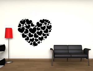 Adesivo murale cuore di cuori da parete amore wall sticker love decorazione