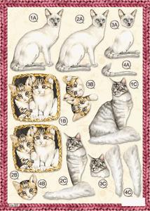 Craft UK A4 Die Cut Decoupage Sheet - Line 620 - CATS & KITTENS