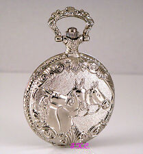 Fob w/ Chain Hunter Watch Bn Silver Engraved Horses Riding Jockey Racing Pocket