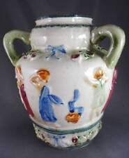 Antique 3-Handled Loving Jug-Vase Majolica Style Embossed Figures Bows+Floral