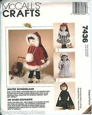 "McCalls 7436 Doll Winter Wonderland wardrobe 18"" inch 45cm pattern UNCUT FF"