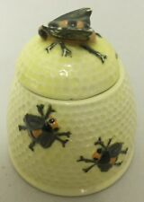 VINTAGE COLLECTABLE CERAMIC RAISED BEE DESIGN HONEY POT JAR in EXC 4 of 5
