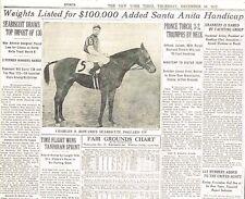 Seabiscuit Draws Top Weight Of 130kg Santa Anita Handicap December 16 1937 B1