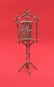 Antique Dollhouse Bird Cage on Stand