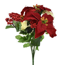Artificial Poinsettia with Carnation Spray, 17-Inch