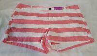 "New Womens Merona Shorts Washed Red & White Stripe Chino Short Size 12 Inseam 3"""