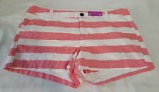 New Womens Merona Shorts Washed Red & White Stripe Chino Short Size 12 Inseam 3""