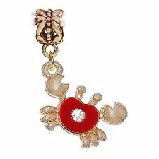 Crab Red Enamel Gold Plated Beach Rhinestone Dangle Charm for European Bracelets