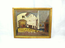 Großes Bild im Rahmen Frankreich / Schweiz um 1900 Gemälde Stall Huhn