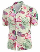 Mens Pineapple Animal Print Shirts Tops Casual Short Sleeve Hawaiian Beach Shirt