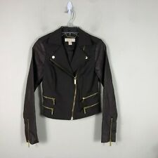 Michael Kors Motorcycle Jacket Women's XS Gray Gold Faux Leather Coat