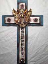 "Home or Office Air Force Cross Home Wall Decoration , Patriotic - 7"" X 12"""""