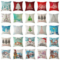 Merry Christmas Linen Waist Throw Pillow Case Cushion Covers Home Sofa DIY Decor