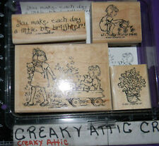 STAMPIN UP FRIENDSHIPS GROW 4 RUBBER STAMPS WAGON LITTLE GIRLS  PLAYING