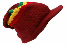 Rasta Reggae Beanie Hat Burgundy Red Knitted Cotton peaked Adult Small Size
