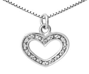 Clearance White Gold 9ct Heart Pendant Diamond .10Ct Box Chain hallmark RRP £499
