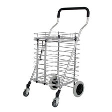 Heavy Duty Portable Folding Shopping Utility Basket Cart Trolley Aluminum Alloy