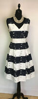PHASE EIGHT BEA FIT AND FLARE  DRESS NAVY & WHITE COTTON MIX SIZE 10, Worn Once