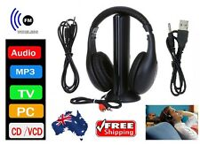 Wireless Headphones Cordless Earphone FM Radio Audio TV Headset Wired Headphone