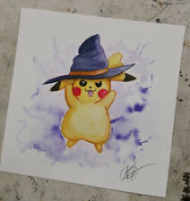 watercolor painting Cute Pikachu Witch Halloween Purple