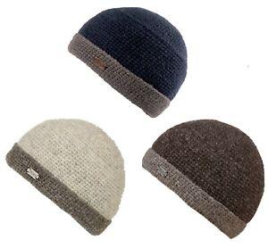 Kusan 100% Wool Knitted Turn-Up Beanie Blue/Grey/Oatmeal (PK839)