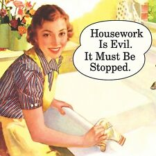 Coaster HOUSEWORK IS EVIL IT MUST BE STOPPED gift Retro vintage New