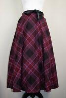 Mid Century Vintage Burgundy Tartan Plaid Midi Swing Skirt BNWT Size 12 14 16