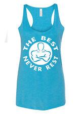 Women's The Best Never Rest C6 Aqua Triblend Racerback Tank Top Workout Fitness