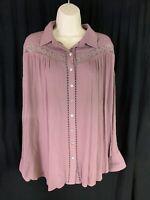 JODIFL Women's Size L Embroidery Plum Tunic Long Sleeve Button Up High Low Hem