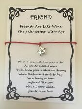 WISH BRACELET FRIEND BEST FRIEND WINE AGE QUOTE GIFT CARD VARIOUS COLOURS CHARMS