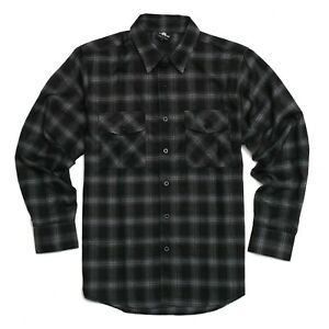 YAGO Men's Casual Plaid Flannel Long Sleeve Button Up Shirt Black/H1 (S-5XL)
