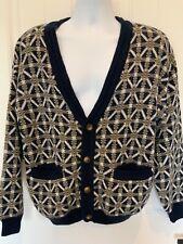 Aggio Mens Size M Medium Multicolor Fair Isle Print Vintage Cardigan Sweater New