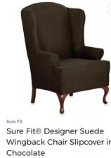 Sure Fit Stretch Designer Suede-Wing Chair Slipcover-Chocolate Brown Stretch New