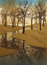 """Russell Ford """"Shadows"""" Hand Signed Serigraph Fine Art Print of trees and lake"""
