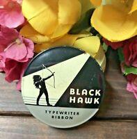 c1950-60s MCM VTG BLACK HAWK Typewriter Ribbon Tin Miller-Bryant-Pierce-ILLINOIS